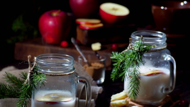 christmas apple white hot chocolate - hot chocolate stock videos and b-roll footage