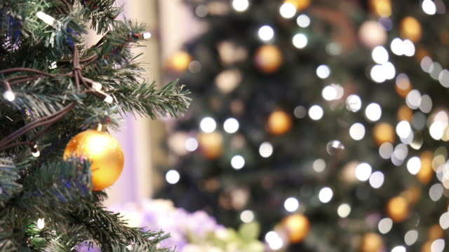 christmas background with decorated tree - christmas tree stock videos & royalty-free footage