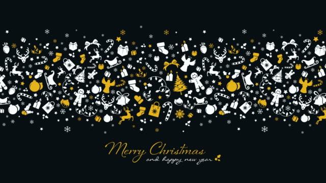 stockvideo's en b-roll-footage met kerstmis achtergrond met gouden pictogrammen - vachtpatroon