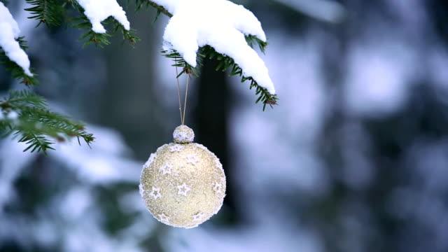 christmas ball hanging on winter tree pan - fir tree stock videos and b-roll footage