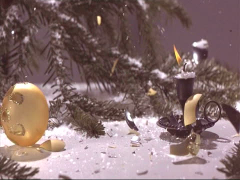 Christmas baubles falling and breaking, high speed