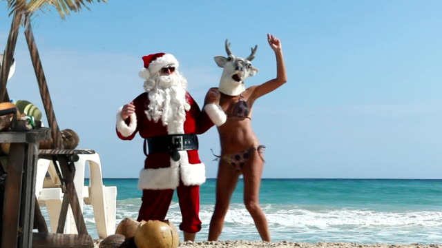 christmas beach party - christmas tree stock videos & royalty-free footage