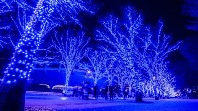 christmas blue led illuminations in tokyo - dolly shot点の映像素材/bロール
