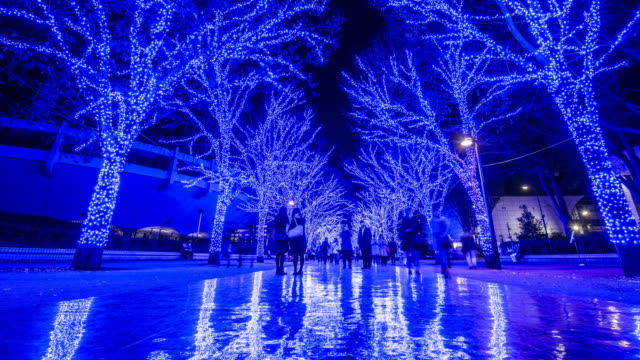 christmas blue led illuminations in tokyo - illusion stock videos & royalty-free footage