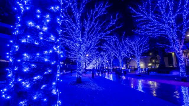 christmas blue led illuminations in tokyo - イルミネーション点の映像素材/bロール