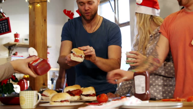 christmas breakfast with friends - ketchup stock videos and b-roll footage