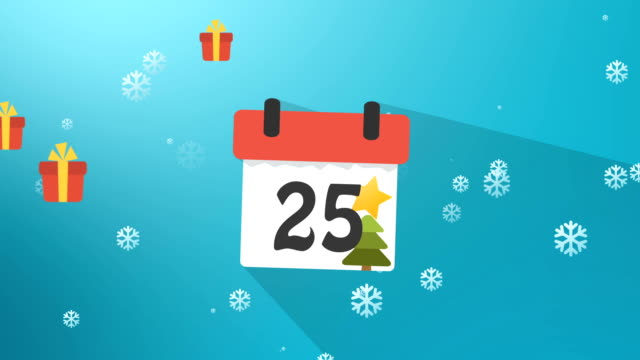 Christmas Calendar 1 to 25 Blue Infographics