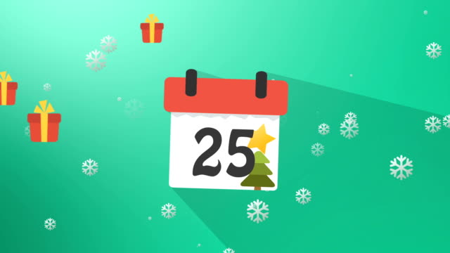 Christmas Calendar 1 to 25 Green Infographics