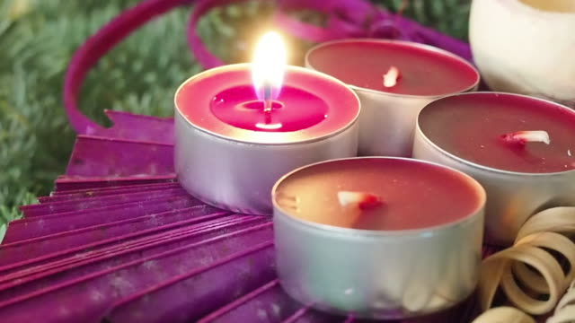 christmas candles. lit candle. advent. germany, europe. - christmas decore candle stock videos & royalty-free footage