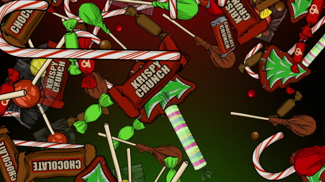 christmas candy raining down - tentacle sucker stock videos & royalty-free footage
