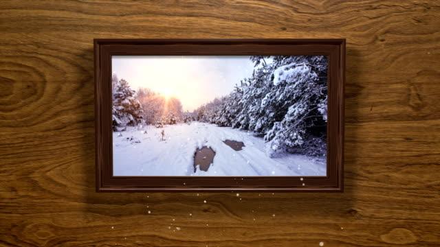 vídeos y material grabado en eventos de stock de tarjeta de navidad - marco de imagen de invierno 3d (loop 4k) - marco