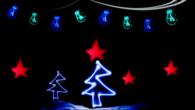 Christmas Card, Neon, Lights, Christmas Tree