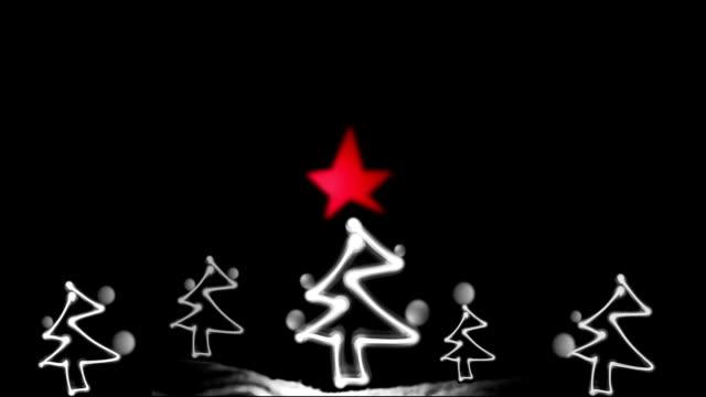 Christmas Card, Neon, Lights, Christmas Trees