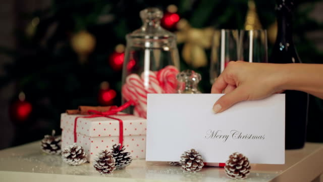 christmas card on the table - greeting card stock videos & royalty-free footage