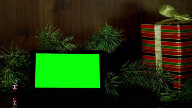 christmas composition from the laptop with green screen. - netbook stock videos and b-roll footage