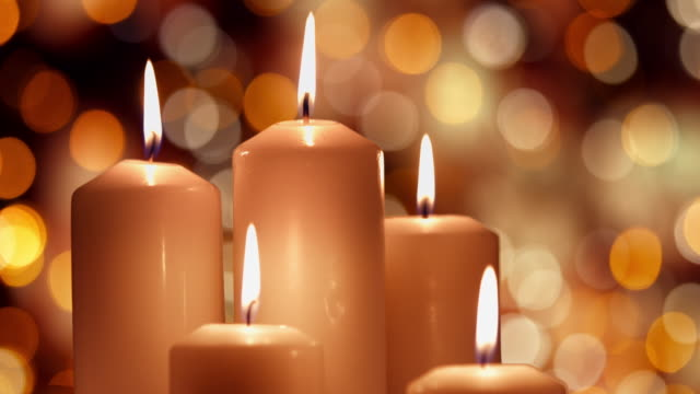 christmas composition with burning white candles - advent stock videos & royalty-free footage