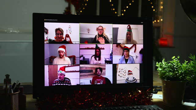 christmas conference call - tinsel stock videos & royalty-free footage