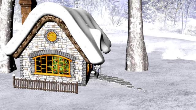 christmas cottage mit weihnachtsbaum 1 - fensterrahmen stock-videos und b-roll-filmmaterial