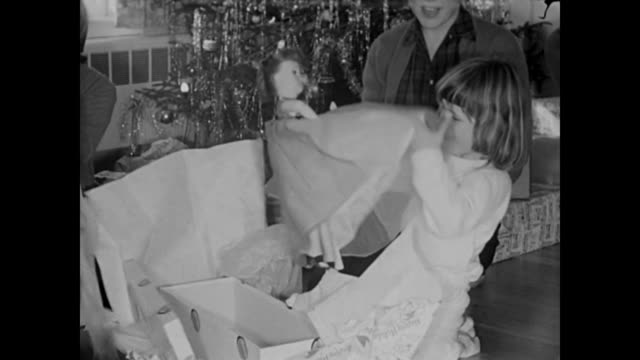 1950 Christmas day breakfast & gifts by tree with dog - Home Movie