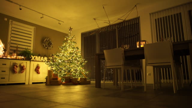 christmas decorated living room on xmas evening