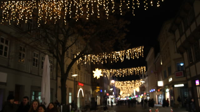 christmas decoration downtown in göttingen in germany - advent calendar stock videos & royalty-free footage