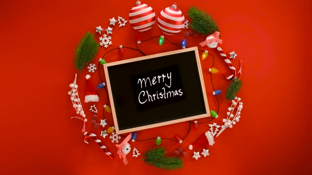 christmas decoration on red background and a greeting card - wreath stock videos & royalty-free footage