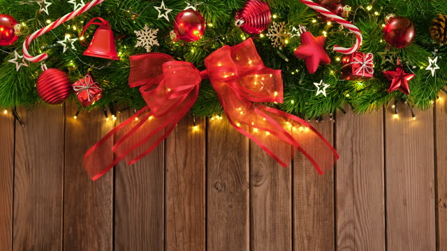 christmas decoration on wooden rustic table and a greeting card - candy cane stock videos & royalty-free footage