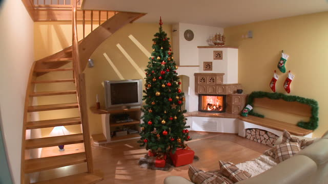 hd: christmas decoration - fireplace stock videos & royalty-free footage