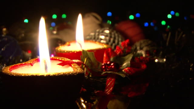 christmas decoration - christmas decore candle stock videos & royalty-free footage