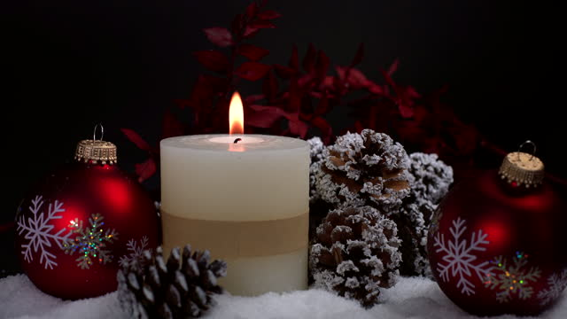 christmas decoration with candle - christmas decore candle stock videos & royalty-free footage
