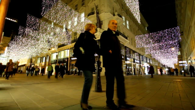 christmas decorations adorn kohlmarkt in vienna. - vienna stock videos and b-roll footage