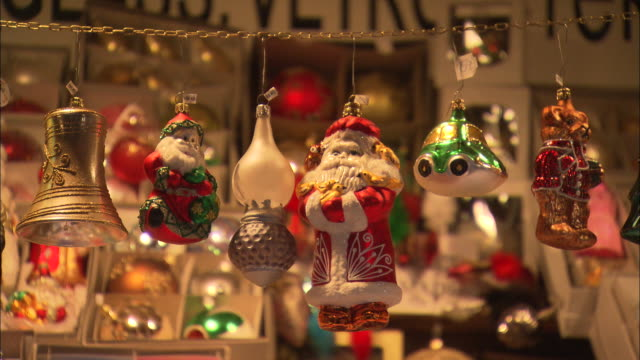 christmas decorations hanging in a shop - traditionally czech stock videos & royalty-free footage
