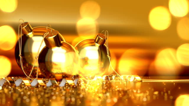 christmas defocused background - bokeh gold - ornament stock videos and b-roll footage