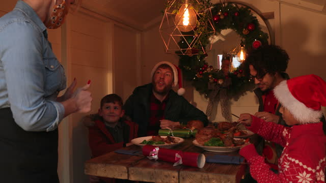christmas dinner outdoors in the christmas cabin - decoration stock videos & royalty-free footage
