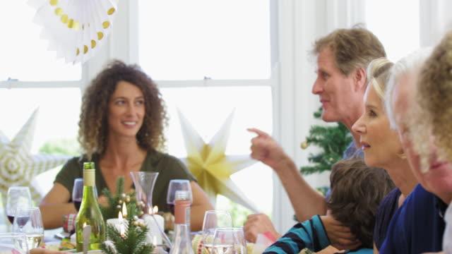 christmas dinner - multi generation family stock videos & royalty-free footage