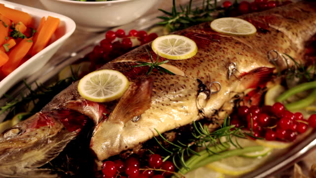 christmas dinner - fish stock videos & royalty-free footage