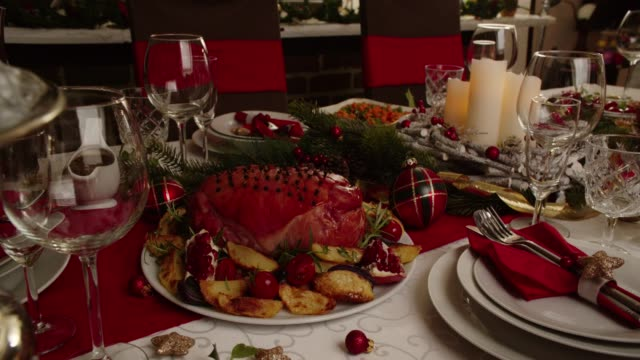 christmas dinner with glazed holiday ham with cloves, vegetables, minced pies and eggnog orange trifle - trifle dessert stock videos and b-roll footage