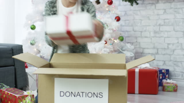christmas donations - charity and relief work stock videos & royalty-free footage