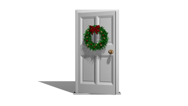 christmas door - wreath stock videos & royalty-free footage