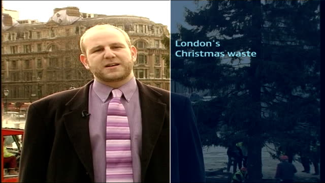 trafalgar square tree taken down / recycle christmas card campaign reporter to camera with graphic detailing london's christmas tree card and paper... - christmas paper stock videos and b-roll footage