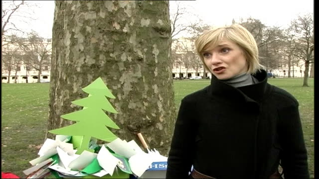 trafalgar square tree taken down / recycle christmas card campaign jane horrocks interview sot it's such a wasteful time of year / we throw such a... - jane horrocks stock videos & royalty-free footage