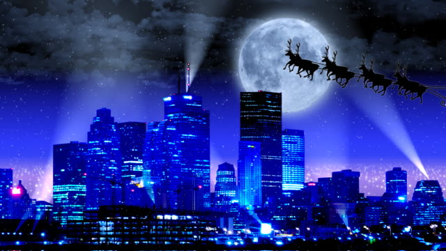 christmas eve santa in the city - christmas gift stock videos & royalty-free footage