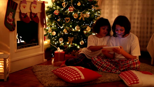 christmas evening - stockings stock videos & royalty-free footage