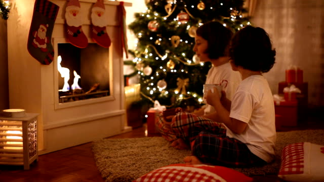 christmas evening - fireplace stock videos & royalty-free footage