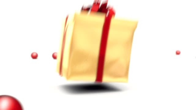 vidéos et rushes de explosion de cadeau de noël - grand groupe d'objets