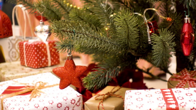 christmas gift presents decoration - christmas present stock videos & royalty-free footage