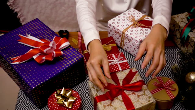 christmas gift presents decoration - christmas gift stock videos & royalty-free footage