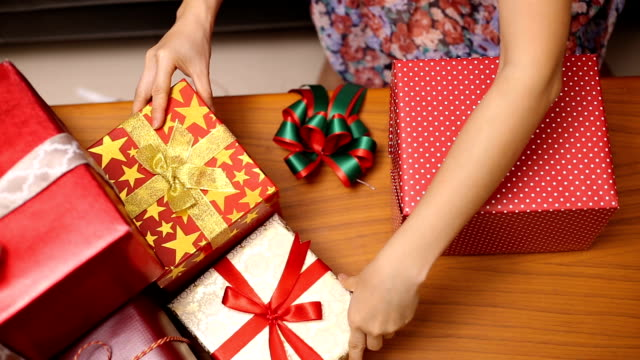 christmas gift presents decoration winter season - tied bow stock videos & royalty-free footage