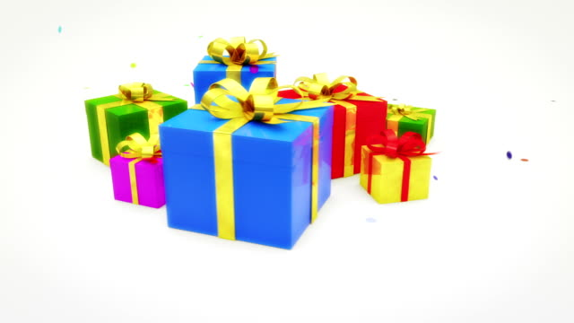 christmas gifts with confetti - birthday gift stock videos & royalty-free footage
