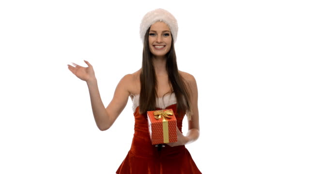 christmas girl with a present - mrs claus stock videos and b-roll footage